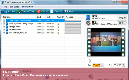 Téléchargez FreeVideoConverter pour lire vos diaporamas sur une TV