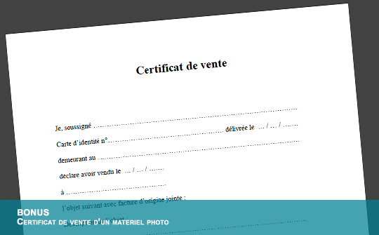 exemple d attestation de vente
