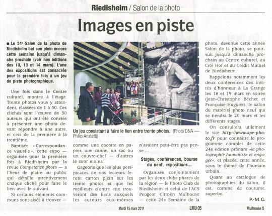 Les Dernières Nouvelles D'Alsace (DNA) du mardi 15 mars 2011.