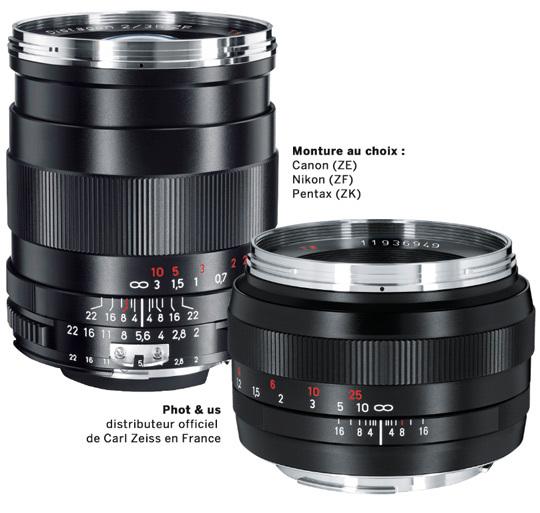 Le Zeiss Distagon 35 mm f2 (à gauche) • Le Zeiss Planar 50 mm 1.4 (à droite)