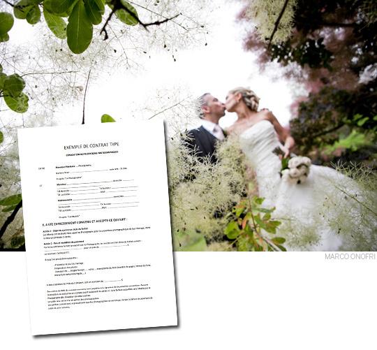 Convention de prestations photographiques entre les mariés et le photographe