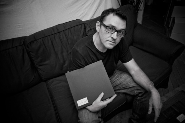 "Alain Laboile and the limited edition n°200 of his book ""Waiting for the postman"""