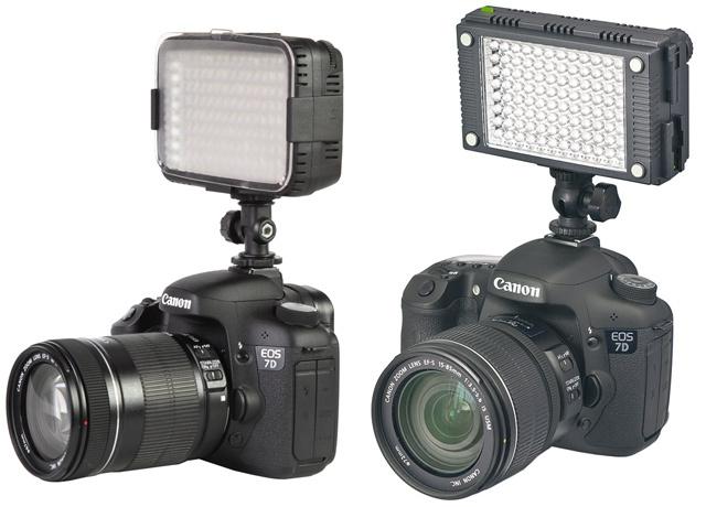 À gauche : Canon Eos 7D et torche à leds Ledgo CN B144 © PBS Vidéo • À droite : Canon Eos 7D et torche Kaiser StarCluster montée © Kaiser