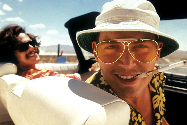 Still from Fear And Loathing In Las Vegas (1998) featuring Benicio Del Toro and Johnny Depp. © Universal / The Kobal Collection / Mountain, Peter