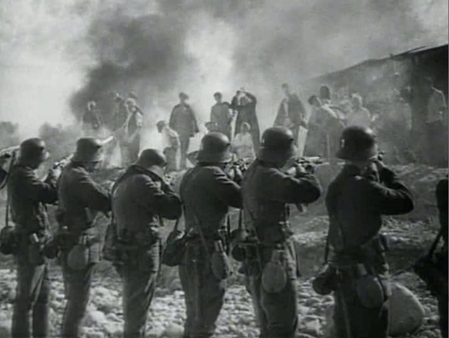 The killing of civilians. From Secretary of the Regional Party Committee, directed by Ivan Pyr'ev: cameramen Valentin Pavlov and Boris Aretskii, 1942