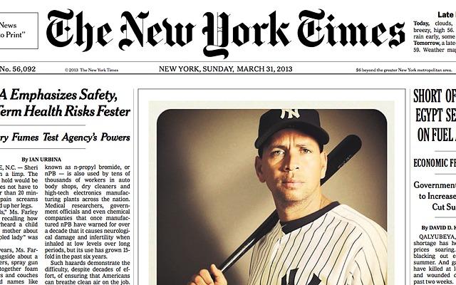 La Une du New York Times du 31 mars 2013