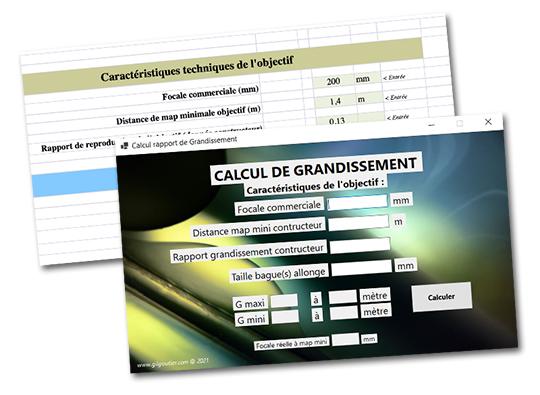 Captures d'écran du calculateur de grossissement (format Excel et programme compatible Windows)