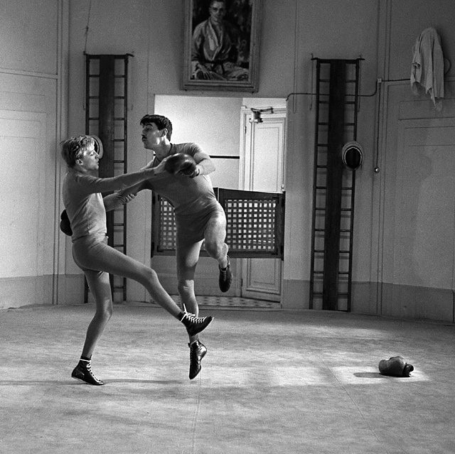 1961, Henri Serre (Jim) et Oskar Werner, film Jules et Jim de François Truffaut © Raymond-Cauchetier