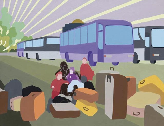 Le départ, 2014 acrylique sur toile 116 cm x 89 cm