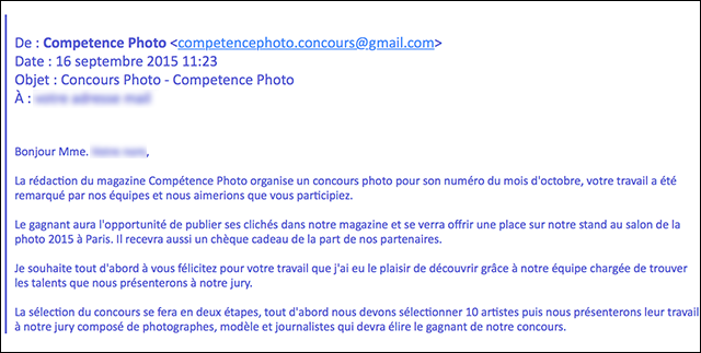 Avertissement : mail frauduleux et tentative de vol de photos