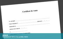 Télécharger gratuitement un certificat de vente pour un matériel d'occasion